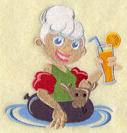 Mrs. Claus enjoys a drink in an inner tube at the beach machine embroidery design.