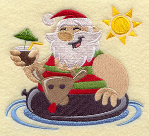 Santa Claus at the beach with a Rudolph inner tube.