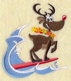 Rudolph the red-nosed reindeer catches a wave on his surfboard.