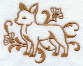 A one-color Chihuahua dog machine embroidery design.