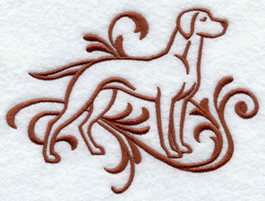 A one-color Vizsla dog machine embroidery design.