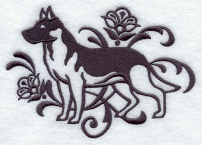 A one-color German Shepherd dog machine embroidery design.