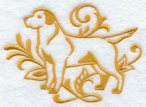 A one-color Labrador Retriever dog machine embroidery design.