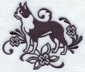 A one-color Boston Terrier dog machine embroidery design.