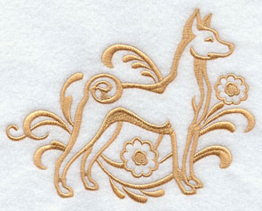 A one-color Basenji dog machine embroidery design.