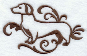 A one-color Dachshund dog machine embroidery design.
