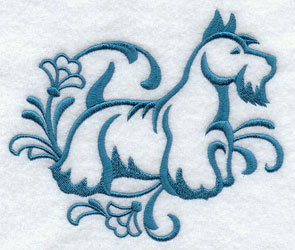A one-color Scottish Terrier dog machine embroidery design.