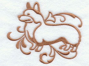 A one-color Corgi  dog machine embroidery design.