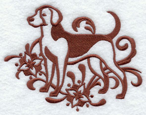 A one-color American Foxhound dog machine embroidery design.