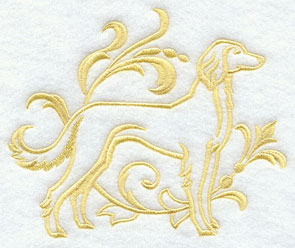 A one-color Saluki dog machine embroidery design.