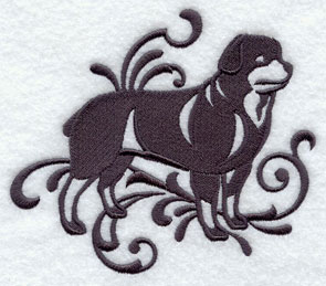 A one-color Rottweiler dog machine embroidery design.