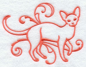 One-color purebreed Devon Rex cat machine embroidery design.