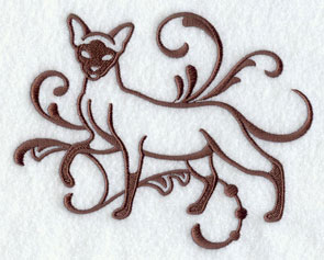 One-color purebreed Siamese cat machine embroidery design.