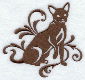 One-color purebreed Havana Brown cat machine embroidery design.