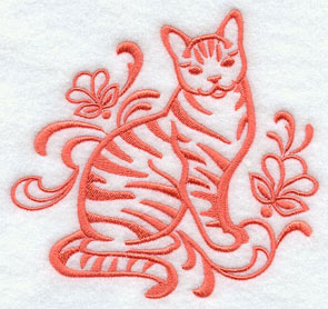 One-color purebreed tabby cat machine embroidery design.