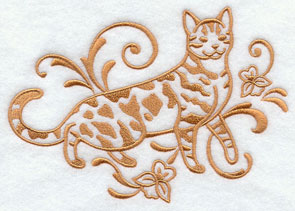 One-color purebreed Bengal cat machine embroidery design.