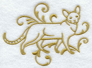 One-color purebreed Chausie cat machine embroidery design.
