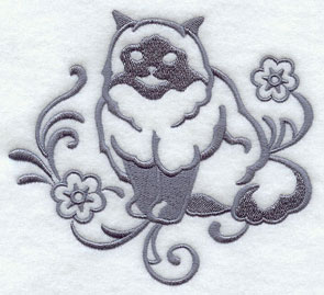 One-color purebreed Himalayan cat machine embroidery design.