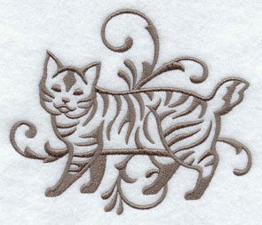 One-color purebreed American Bobtail cat machine embroidery design.