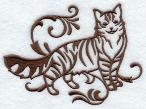 One-color purebreed Maine Coon cat machine embroidery design.