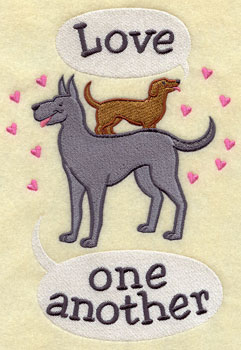 """Love one another"" with dogs and hearts machine embroidery design."