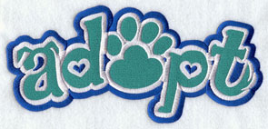 """Adopt"" with puppy ears, pawpring, and tail machine embroidery design."