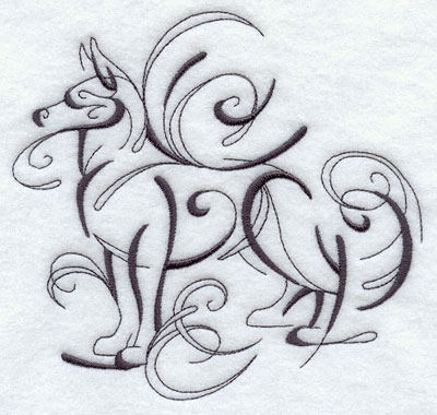 An inky calligraphic design of a dog.