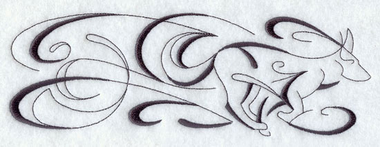 An inky calligraphic border design of a dog. 