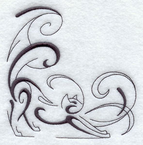 Intricate Ink cat corner design.