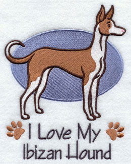I Love My Ibizan Hound dog machine embroidery design.