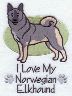 I Love My Norwegian Elkhound dog machine embroidery design.
