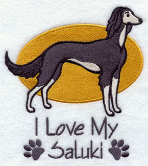 I Love My Saluki dog machine embroidery design.