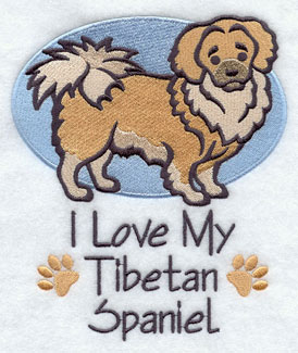 I Love My Tibetan Spaniel dog machine embroidery design.
