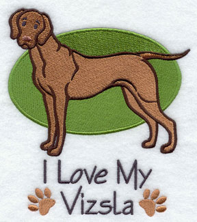 I Love My Vizsla dog machine embroidery design.