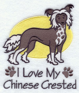 I Love My Chinese Crested dog machine embroidery design.