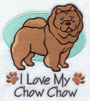 I Love My Chow Chow dog machine embroidery design.