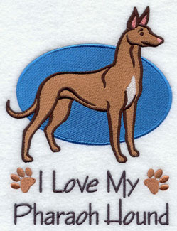 I Love My Pharaoh Hound dog machine embroidery design.