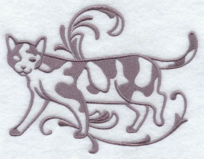 One-color purebreed Calico cat machine embroidery design.