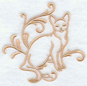 One-color purebreed Abyssinian cat machine embroidery design.