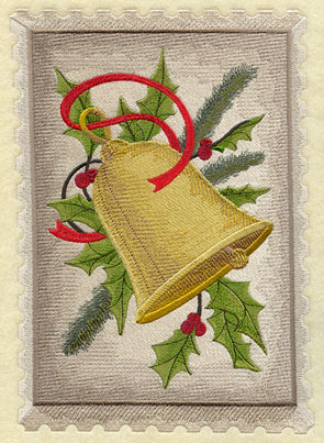 A vintage Christmas postage stamp with a bell, pine boughs, and holly.