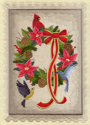 A vintage Christmas postage stamp with a wreath and birds.