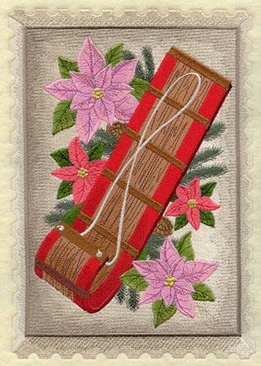 A vintage Christmas postage stamp with a toboggan and poinsettias.