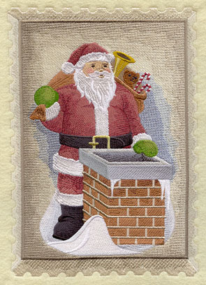 A vintage Christmas postage stamp with Santa and a sack of toys about to go down the chimney.