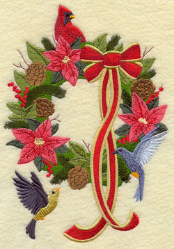 A vintage Christmas machine embroidery design with a wreath and birds.