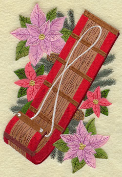 A vintage Christmas machine embroidery design with a toboggan and poinsettias.