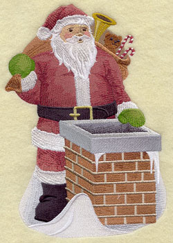 A vintage Christmas machine embroidery design with Santa and a sack of toys about to go down the chimney.