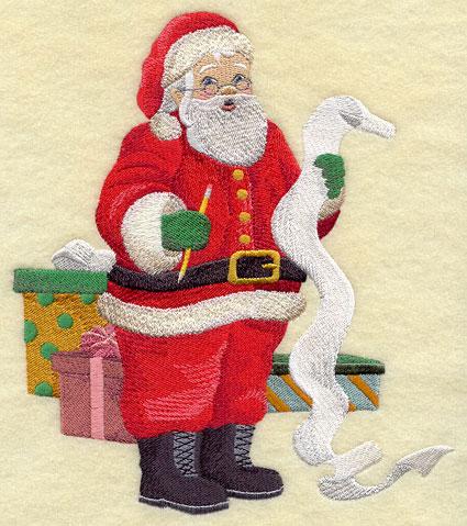 Santa Claus checks his list machine embroidery design.