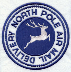 "A rubber stamp machine embroidery design with ""North Pole Air Mail Delivery."""