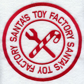 "A rubber stamp machine embroidery design with ""Santa's Toy Factory."""