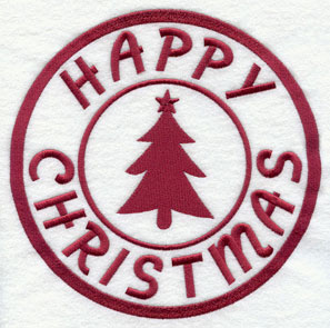 "A rubber stamp machine embroidery design with ""Happy Christmas."""